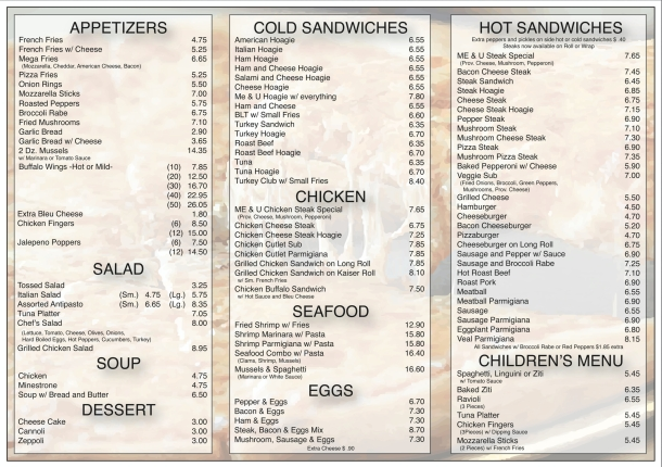 Me and U Pizzeria Menu Pg2
